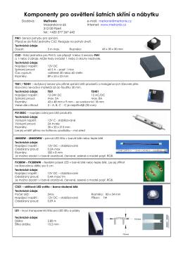 Komponenty pro osvětlení nábytku Zatím jako PDF