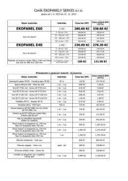 EKOPANEL E60 EKOPANEL E40 Ceník EKOPANELY SERVIS s.r.o.