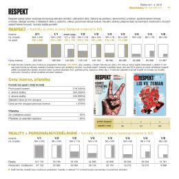 Ceny inzerce, příplatky RESPEKT – formáty (v mm) a