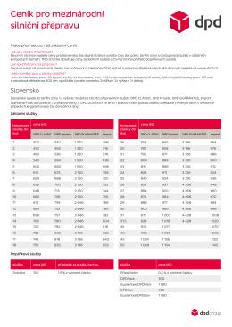 Ceník pro mezinárodní silniční přepravu