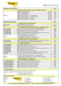 CENÍK (PLATÍ DO 5.1.2016) Panelové zobrazovače cena