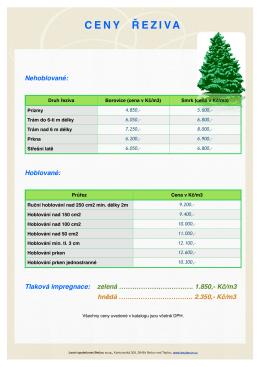 20. Ceny řeziva - Lesní společnost Bečov, sro