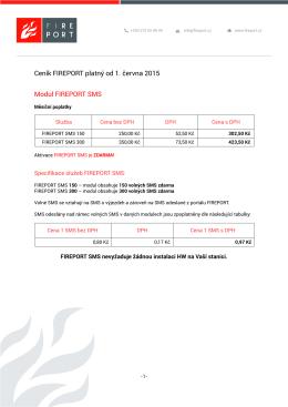 Ceník FIREPORT platný od 1. června 2015 Modul FIREPORT SMS