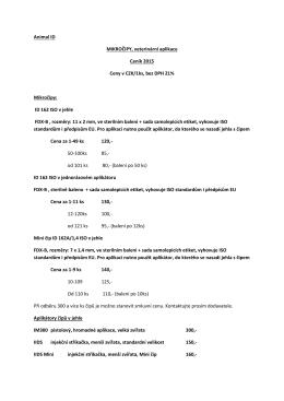 Animal ID MIKROČIPY, veterinární aplikace Ceník 2015 Ceny v CZK