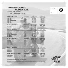 BMW MOTOCYKLY: MODELY 2016. CENY