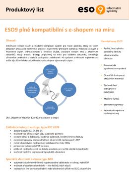 Produktový list ESO9 plně kompatibilní s e