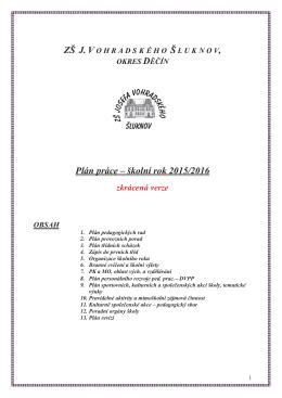 Plán práce školy 2015-16 - Základní škola J.Vohradského