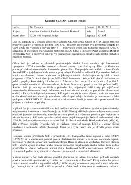 Kancelář CZELO - Záznam jednání