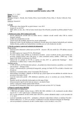 Zápis z jednání soutěžní komise sekce OB 13. 11. 2015