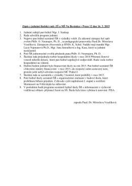 Zápis z jednání školské rady ZŠ a MŠ Na Beránku v