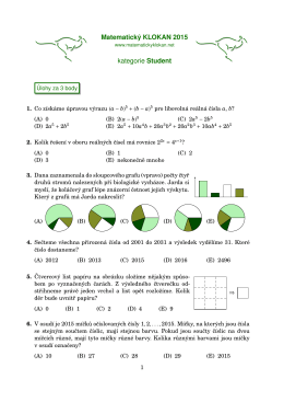 Matematický KLOKAN 2015 kategorie Student