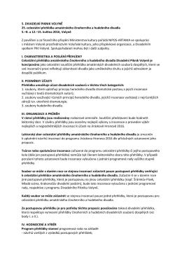 Divadelní Piknik Volyně 2016 — propozice