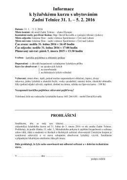 Informace k lyžařskému kurzu s ubytováním Zadní Telnice 31. 1. až