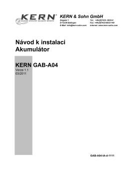 Návod k instalaci Akumulátor