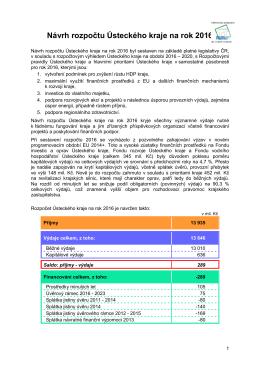 Návrh rozpočtu Ústeckého kraje na rok 2016
