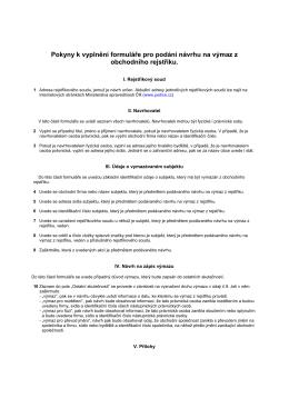 Pokyny k vyplnéní formuláře pro podání návrhu na výmaz z