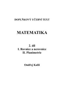 2. díl - Rovnice a nerovnice. Planimetrie