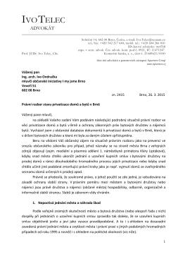 Právní rozbor stavu privatizace domů a bytů V Brně, autor prof. JUDr