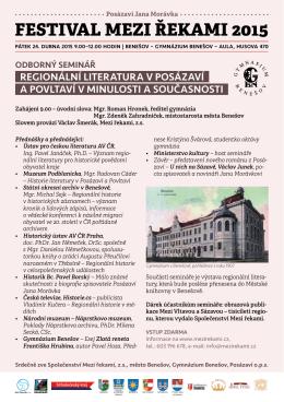 Regionální literatura v Posázaví a Povltaví v minulosti a současnosti