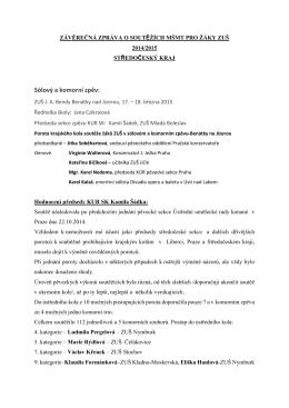 Zhodnocení soutěží krajských kol soutěže MŠMT v