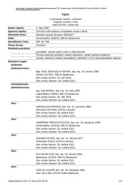 Výpis subjektu Stavební bytové družstvo RADOST