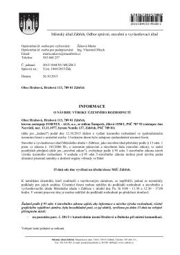 Informace o návrhu výroku územního rozhodnutí