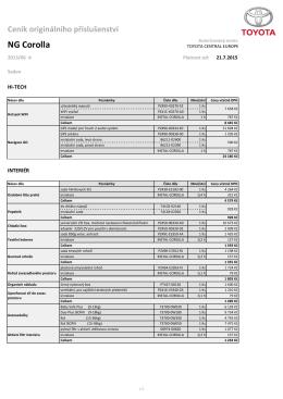 Ceník příslušenství - Corolla