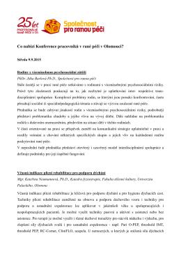Co nabízí Konference pracovníků v rané péči v Olomouci?