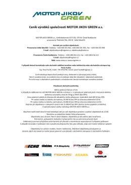 Ceník výrobků společnosti MOTOR JIKOV GREEN a.s.