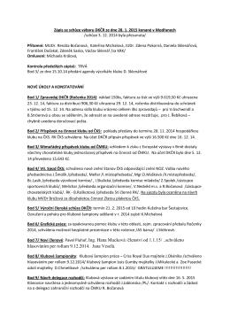 Zápis ze schůze výboru DKČR ze dne 28.1.2015