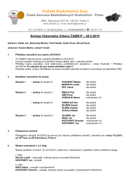 Zápis ze schůze VV ČABR-P 28.5.2015