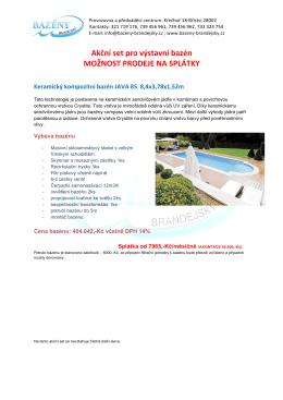 Akční set pro výstavní bazén MOŽNOST PRODEJE NA SPLÁTKY