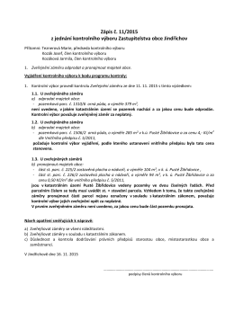 Zápis č. 11/2015 z jednání kontrolního výboru Zastupitelstva obce
