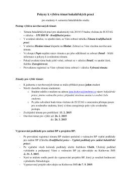 Pokyny k výběru témat bakalářských prací