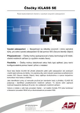 Katalogový list iCLASS SE_CZ Jazyk: Český Verze: 08/2015 Velikost