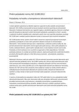 Plnění požadavků normy ISO 15189_2012 CZ