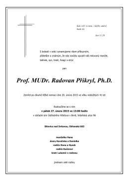 Prof. MUDr. Radovan Přikryl, Ph.D.