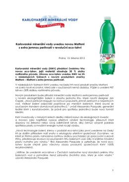 TZ_Nová Mattoni v eco-lahvi - Karlovarské minerální vody