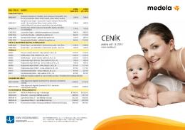 Ceník Medela platný od 1.8.2015
