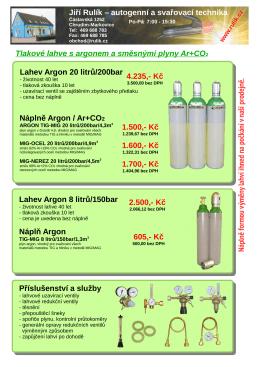 Tlakové lahve s argonem a směsnými plyny Ar+CO2 Lahev Argon