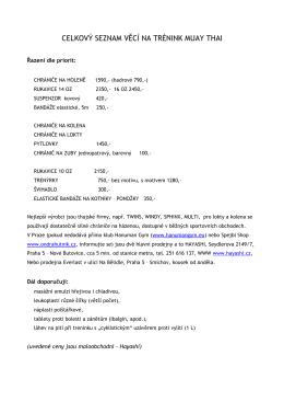 celkový seznam věcí na trénink muay thai