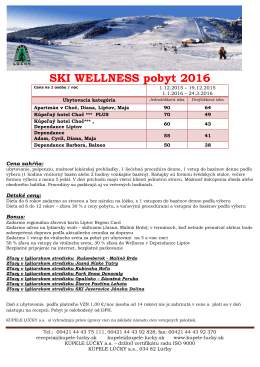 SKI WELLNESS pobyt 2016