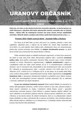 URANOVÝ OBČASNÍK únor 2015 - Naše budoucnost bez uranu, zs