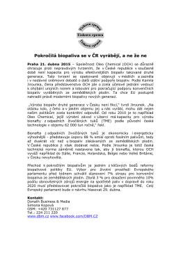 Pokročilá biopaliva se v ČR vyrábějí, a ne že ne