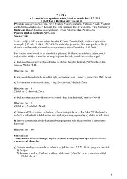 Zápis ze 6. zasedání dne 15.7.2015