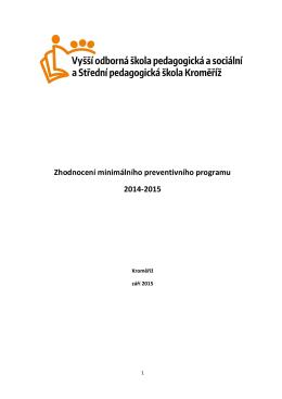 evaluace MPP - Vyšší odborná škola pedagogická a sociální a