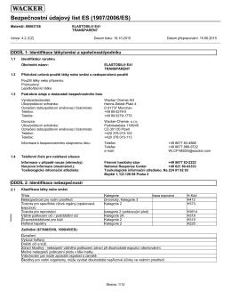 Bezpečnostní údajový list ES (1907/2006/ES)