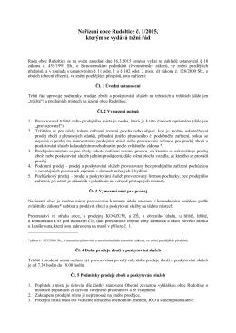Nařízení obce č. 1/2015, tržní řád