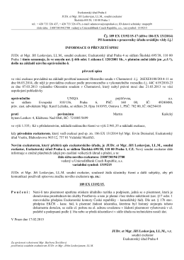 Čj. 189 EX 13192/15-17 (dříve 186 EX 1312014) Při kontaktu s