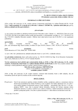 Čj. 189 EX 13230/15-13 (dříve 186 EX 2102014) Při kontaktu s